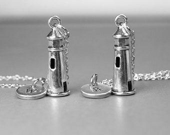 Best friend necklace, lighthouse necklace, lighthouse jewelry, best friend jewelry, bff necklace, personalized necklace, initial necklace