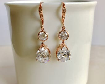 Rose gold bridal earrings, bridal jewelry, wedding jewelry, rhinestone earrings, teardrop earrings, bridesmaids earrings, gift,