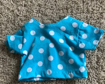 """18"""" Doll Blue and white polka dot short sleeved t-shirt"""