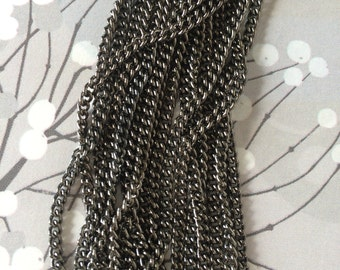 Gunmetal Chain, Delicate Curb Chain, Light Weight Chain, Basic Gunmetal Chain, 3.5mm, 8Ft
