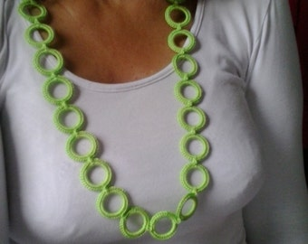 Green crochet necklace with rings