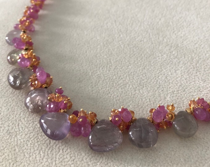 Sapphire Gemstone Necklace in Gold Vermeil and Lavender and Gray Umba Sapphires, Pink Sapphire, Orange Padparadscha Sapphire