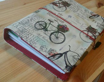 Bicycle  17 pocket  ECLP cover Fabric  Planner accessory Adjustable snap closer
