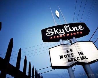 Skyline Apartments - Midcentury Neon Sign Photograph
