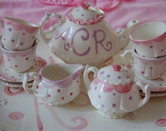 Personalized  monogram Little Girl's Tea Set //  Hand Painted // teapot, creamer, sugar bowl, 4 cups and saucers // pink and purple