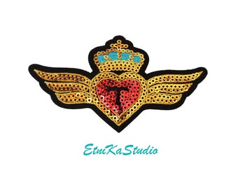 Winged HEART with CROWN and letter T,  sequin applique PATCH, sew on or iron on embellishment, red and gold