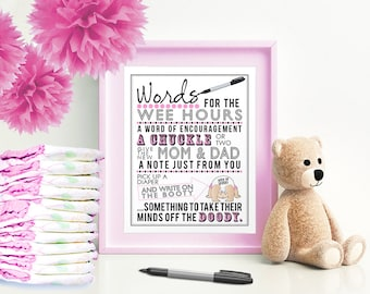 Pink Words for the Wee Hours for Baby Shower 5x7 & 8x10 PDF  Instant download printable