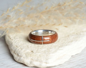 Christian cross ring, sterling silver cross ring, crucifix christian band ring, wood and silver ring size 6,5, unique holly cross ring