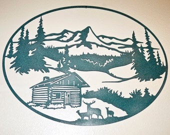 Log Cabin and Deer Mountain Scene - Wall Art - Metal Art - Home Decor - Makes a GREAT gift!