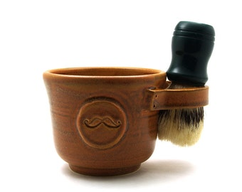 Mustache Shaving Mug, Brown Ceramic Moustache Shave Cup Brush Not Included