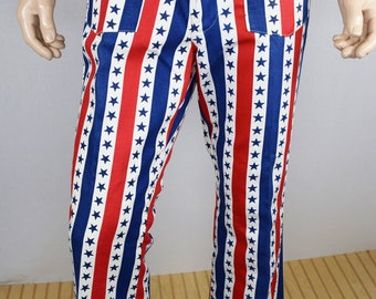 NOS Vintage 1960s 70s Mens 36x32 American Flag Stars Stripes Red White Blue Patriotic 4th of July RoCk StaR Bell Bottom Pants Jeans HiPPiE