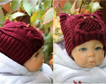 Owl Knit Hat Cable Knit Hat