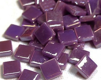 "12mm (1/2"") Deep Purple Pearlized Recycled Glass Square  Mosaic Tiles//Mosaic Supplies//Craft Supplies"