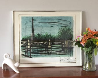 Bernard Buffet Original Lithograph, La Tour Eiffel Lithograph 1968, Framed Mid Century Paris Lithograph With Certificate of Authenticity