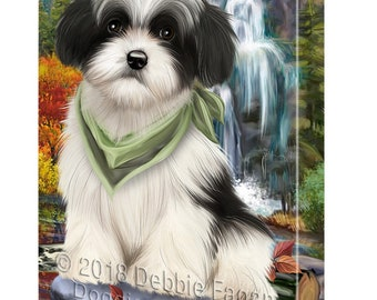 Scenic Waterfall Havanese Dog Canvas Wall Art