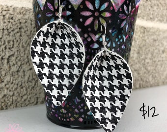 Black and White Houndstooth Faux Leather Petal Earrings