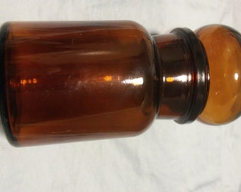 5 1/2 inch Vintage Amber Apothecary Jar with a Bubble Lid - Made in Belguim