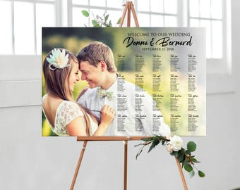 Photo wedding seating chart, wedding seating chart Printable Digital sign with photo, table assignment personalized photo seating plan