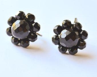 Black Bead Earrings, Vintage Black Earrings, Screw On Earrings