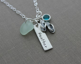Personalized Sterling silver name bar necklace, hand stamped genuine sea glass, sandals Swarovski crystal birthstone - nameplate customized