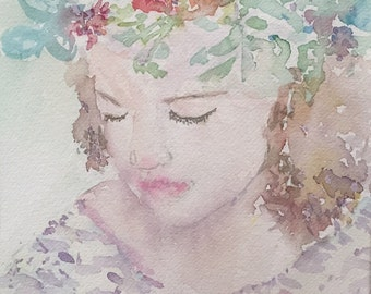 Flower Girl - original watercolor painting
