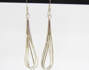 Native American - Southwestern Liquid Sterling Silver Multi Strand Dangle Earrings - 2900H