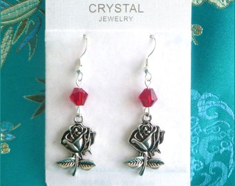 Red Crystal Rose Earrings - Handmade with Silver Plated Hooks