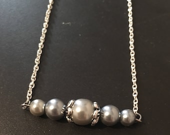 Gray glass bead necklace