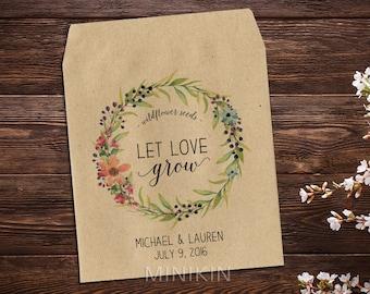 Seed Packet Favor, Wedding Seed Packet, Flower Favor, Let Love Grow Favor, Rustic Wedding Favor, Garden Wedding, Summer Wedding Favor  x 25