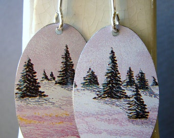 Recycled Tin Earrings, Snow Scene with Evergreens, tin ovals with sterling silver ear wires