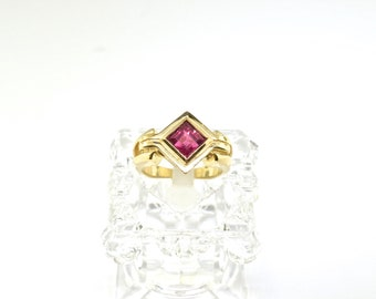 14k Gold And Pink Tourmaline Ring. Size 6.5