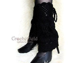 Black Leg warmers, boot cuffs, lace boot socks, Crochet Dance / Ballet Leg Warmers,fitness boot socks,Gift for her, flower leggings