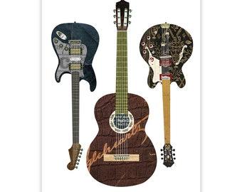 Guitar Art Print - Guitar Collage Poster Print - Fine Art Collage Illustration Print