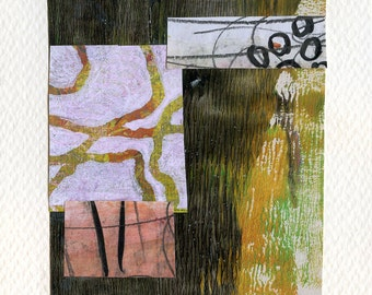 """Waking Up Before the Sun - Collage with Hand Painted Papers 4 x 6"""" on 6 x 7.5"""" Backing"""