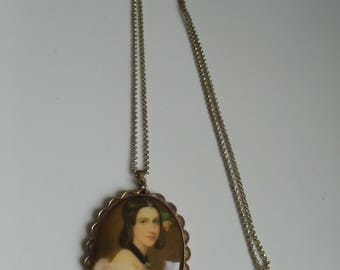 Vintage Amulet with Lady portrait-Beautiful Old amulet, women's picture, double, necklace, medallion, antique jewelry, vintage jewelry