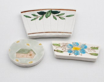 Broken China Mosaic Tiles - Cabochon -Recycled Plates - Bird House - Flower - Foliage - Set of 3