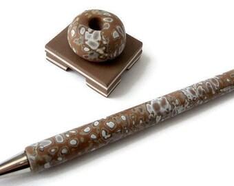Pen Set, Pen Set Gift, Desk Accessory, Pen Desk Accessory, Blogger Pen Set, Ballpoint Pen, Teacher Pen Gift, Office Pen Set, Brown White Pen