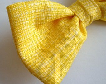 Yellow Hatch Bow Tie for Men - clip on, pre-tied adjustable, or self tying