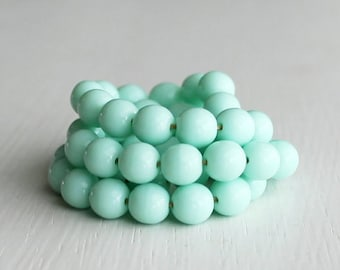 50 Opaque Pale Mint 6mm Smooth Czech Glass Rounds