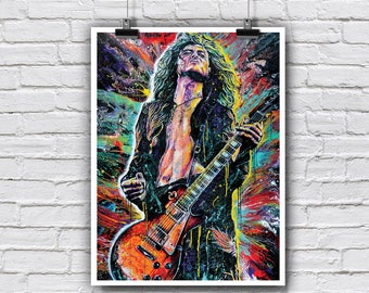"Jimmy Page Poster 18 x 24"" - Jimmy Page - Led Zeppelin 70s rock and roll drugs guitar player"