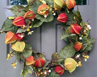 Fall Chinese Lantern Wreath