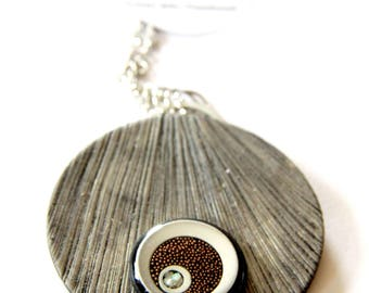 Metal brown polymer clay and resin statement necklace/Round necklace/Aluminium necklace/Noticeable necklace/Easy to wear/statement necklace