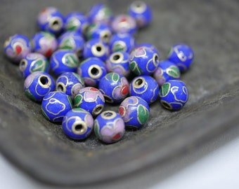 Chinese Cloisonne Beads 6mm Blue Cloisonne Bead Enamel Beads Metal Beads (8 beads) CL06
