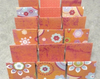 18 Mini Cards - blank for thank you notes - orange purple floral