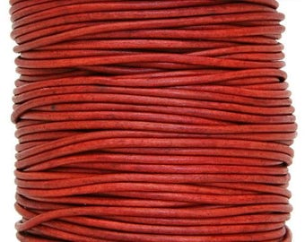 Round Leather Cord 1 mm Diameter Natural Red 50 Meter Spool