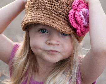 Crochet hat with flower,Girls Hat, Crocheted Flower Newsgirl, Newsboy Brimmed Beanie in Toasted Almond , Pink, and Hot Rose