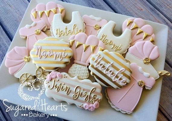 Delightful Gold And Pink Baby Shower Cookies 1 Dozen