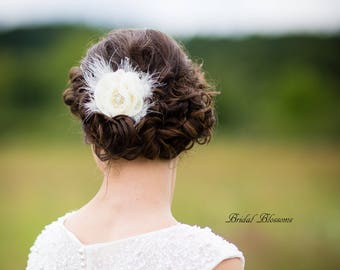 BEST SELLER - Ivory Chiffon Flower Hair Clip | Vintage Inspired Bridal Hair Piece | Fascinator | Girl Feathers Pearl Rhinestone