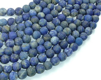 Matte Natural Lapis Lazuli Beads , 8mm Round Beads, 14.5 Inch, Full strand, Approx 46 beads, Hole 1mm (298054014)