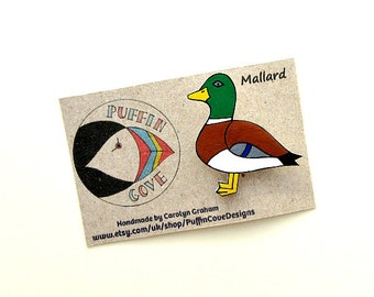 Mallard Brooch, Duck Badge, Birds, Pin, Gift for Her, For Mum, Jewellery, Mother's Day